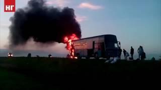 В Костанае сгорел междугородний автобус Лисаковск - Астана